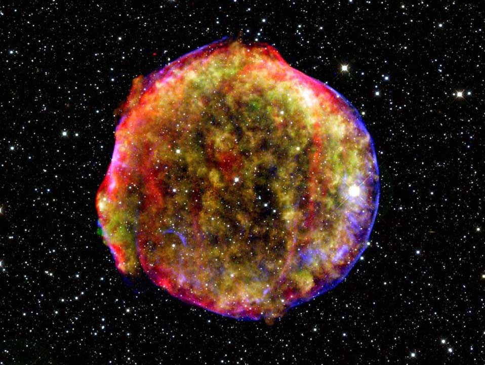 Tycho's supernova remnant is the result of a stellar explosion first recorded over 400 years ago by the famous astronomer Tycho Brahe. Scientists study supernovae in their quest to recreate controlled fusion reactions for clean energy on Earth. Image credit: NASA