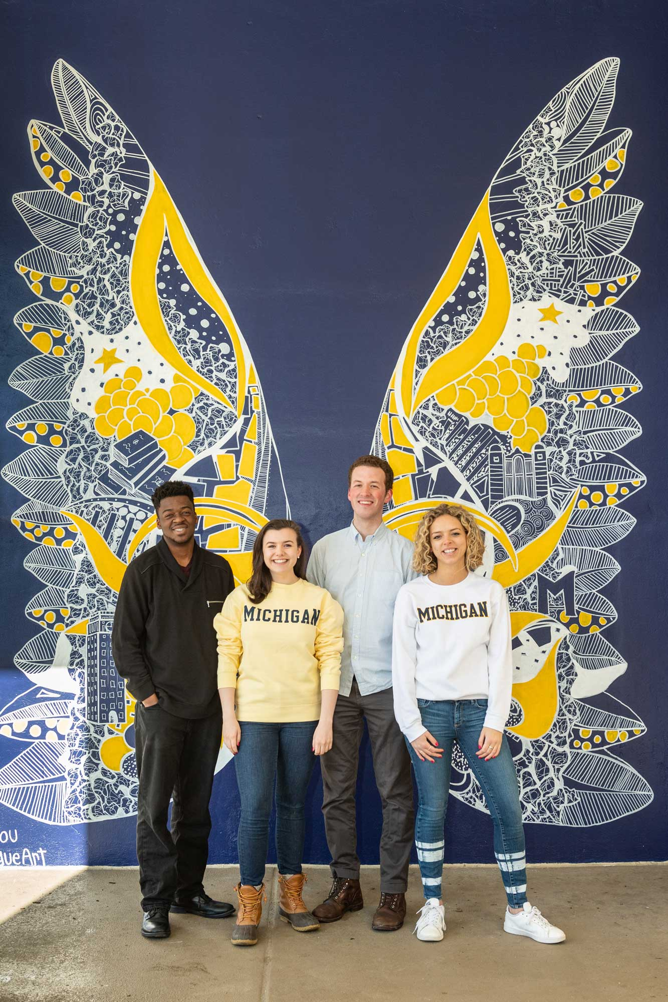 Graduating students (left to right) Kenan Milliean, Molly McGaan, Peter Shultz and Julia Ross. Image credit: Scott Soderberg, Michigan Photography