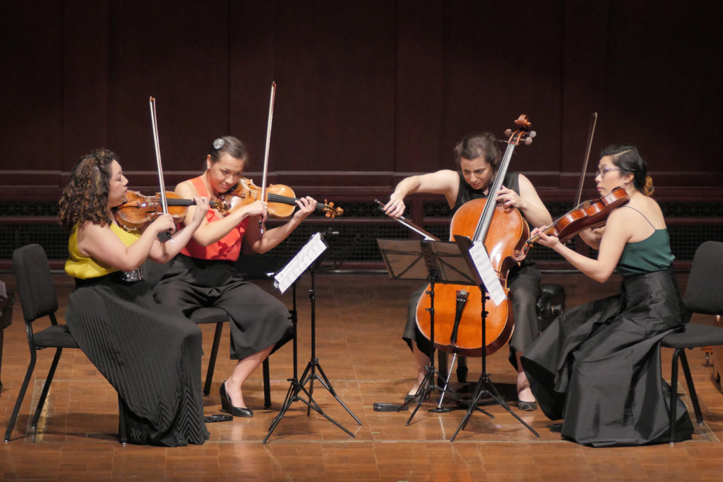 The 2018 M-Prize winners were the Aizuri Quartet, featuring Ariana Kim (violin), Miho Saegusa (violin), Ayane Kozasa (viola) and Karen Ouzounian (cello). Image credit: Peter Smith