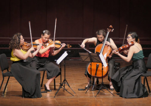 The 2018 M-Prize winners were the Aizuri Quartet, featuring Ariana Kim (violin), Miho Saegusa (violin), Ayane Kozasa (viola) and Karen Ouzounian (cello). Image credit: Peter Smith