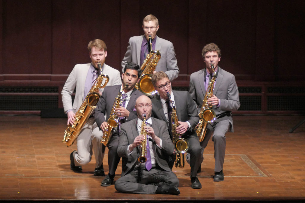 Awarded first prize in the winds division, the Moanin' Frogs (Lucas Hopkins, Andy Hall, Jonathan Hostottle, Jonathan Hulting-Cohen, Sean Hurlburt, Edward Goodman). Image credit: Peter Smith