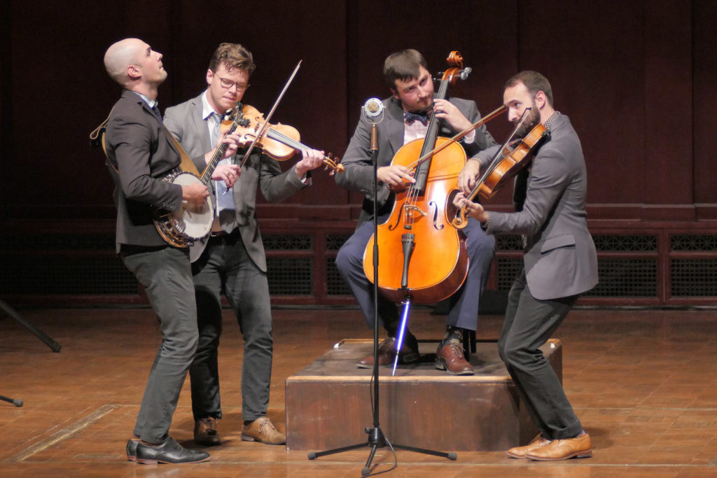 Awarded first prize in the open division, invoke  features Nick Montopoli (violin/banjo), Karl Mitze (viola/mandolin), Cachariah Metteson (violin) and Geoff Manyin (cello). Image credit: Peter Smith