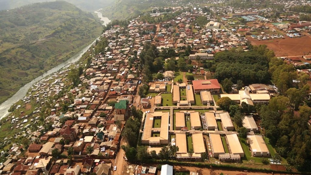 Aerial picture of Panzi Hospital (corner right), a sanctuary in Bukavu (DR Congo) for women with vesicovaginal fistula and for victims of gender based violence.