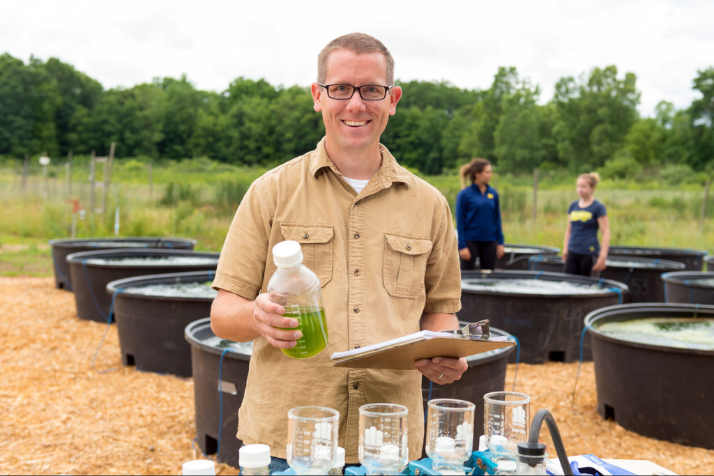 Casey Godwin, a postdoctoral research fellow at the University of Michigan School for Environment and Sustainability. Photo taken July 1, 2016, at U-M's E.S. George Reserve near Pinckney, Mich. Photo by Daryl Marshke/Michigan Photography.