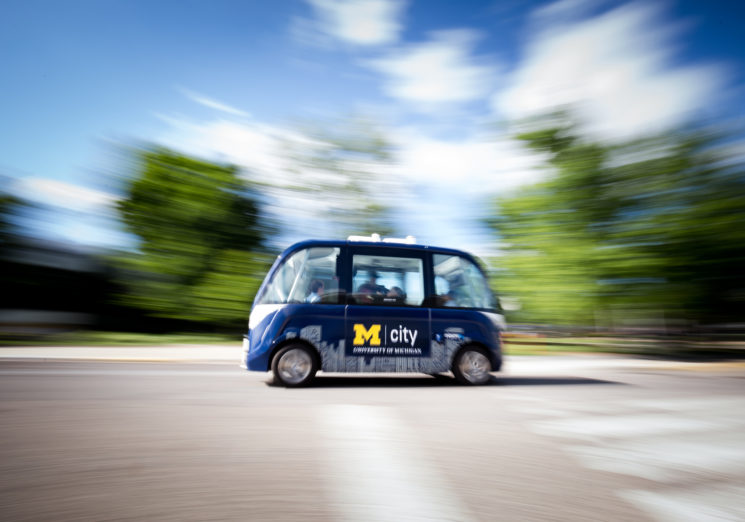 The Mcity Driverless Shuttle launched on June 4, 2018 at the North Campus Research Complex on the University of Michigan's North Campus in Ann Arbor, Michigan. This research project will see how passengers interact with the shuttles in order to gauge consumer acceptance of the technology