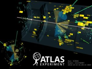 A collision detected by the ATLAS experiment of an event that very likely contains top quarks and a Higgs boson.