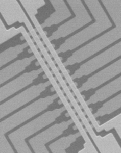 An electron microscope image of the memristor array.
