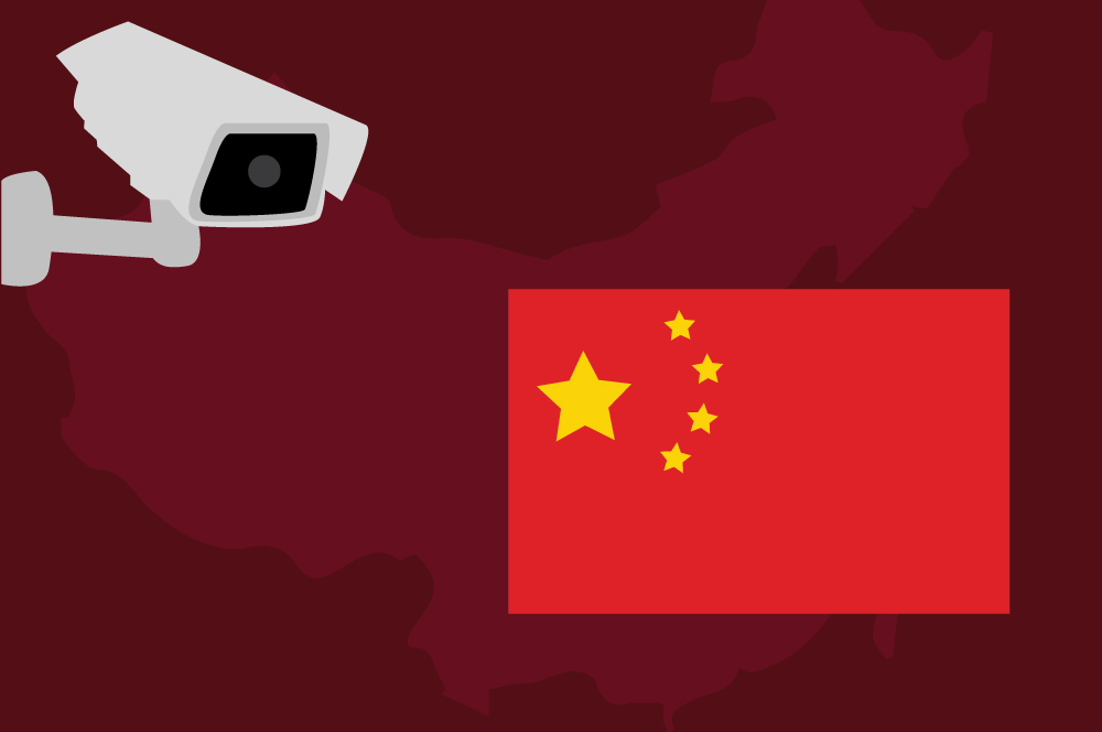 Concept illustration of a surveillance camera and a Chinese flag. Illustration credit: Kaitlyn Beukema