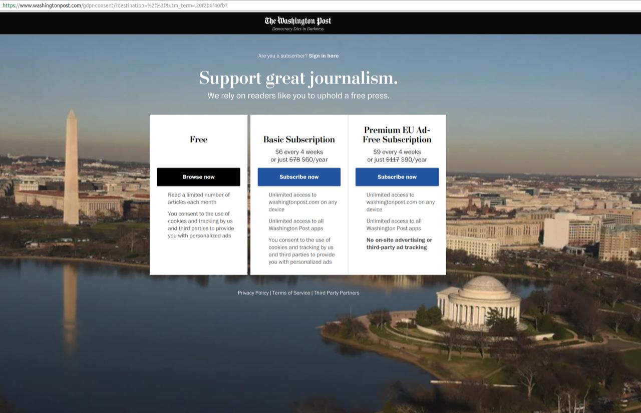 Screenshot of Washington Post subscription options