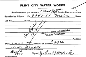 An example of one of more than 100,000 index cards found in the Flint water department's basement that offered researchers only a fraction of the information needed to understand where the city's lead pipelines lurked. Image courtesy: Eric Schwartz