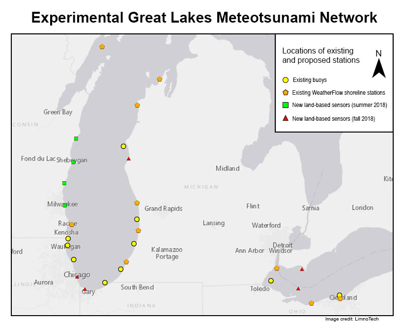 Experimental Great Lakes Meteotsunami Network map of locations of existing and proposed stations. Image credit: LimnoTech