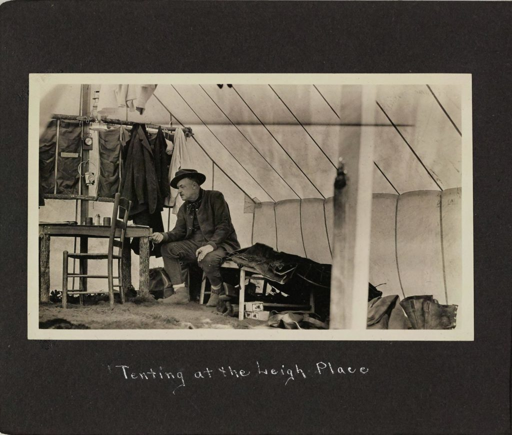 "William B. Mershon ""roughing it"" during a camping trip. [Family and camping snapshots, 1907-1919. Box 47, Folder 19]. Images Courtesy: Bentley Historical Library"