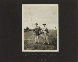 Fully kitted-out and ready to fish during a Mershon family trip to their Au Sable lodge, 1912. [Family and camping snapshots, 1907-1919, Box 47, Folder 19].