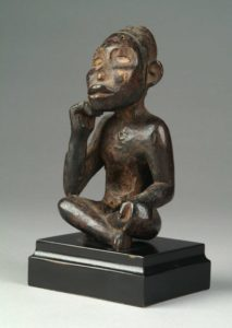 Artist unrecorded, Kongo peoples, Vili group, Democratic Republic of the Congo, Angola, Republic of the Congo, Nkisi (power figure), ca. 1800, wood, tukula powder and kaolin. Image courtesy: U-M Museum of Art, Gift of Candis and Helmut Stern
