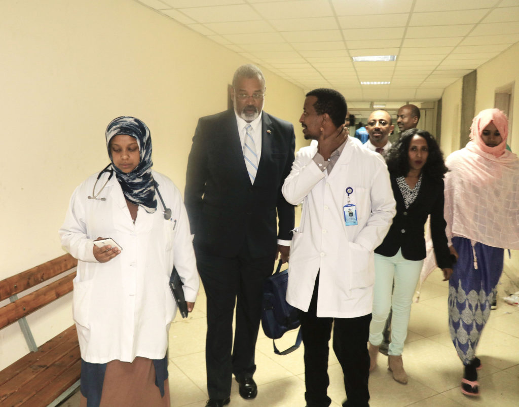 U-M provost Martin Philbert with Birhanu Worku (right), Director of Kidney Transplant Center at St. Paul Hospital Millennium Medical College in Addis Ababa in Ethiopia. Photo courtesy: Alemtsehay Abate
