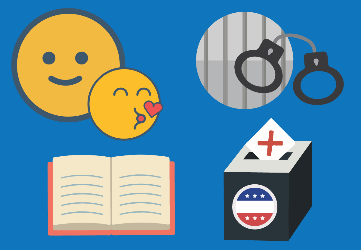 Concept illustration of emoji, crime and punishment, history book and voter ballot box. Illustration credit: Illustration credit: Kaitlyn Beukema