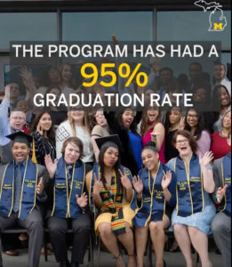 Video screenshot: Blavin scholars program has had a 95% graduation rate. Video screenshot: