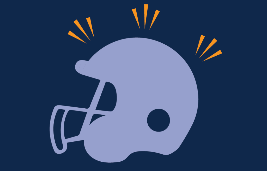 Conceptual illustration of a football helmet being hit. Illustration credit: Kaitlyn Leukemia