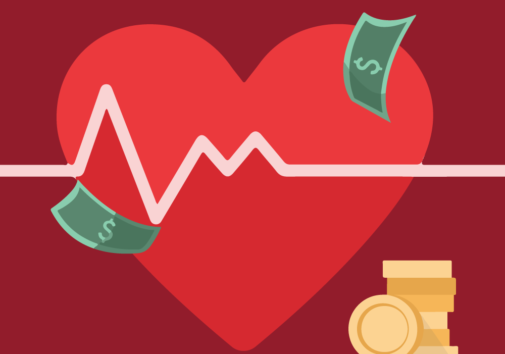 Illustration of a health care heart and money. Created using Piktochart graphics