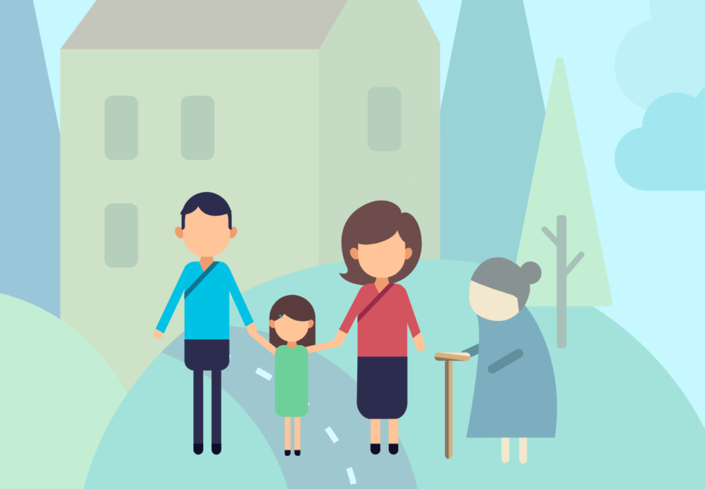 Illustration of a multigenerational family outside their home.