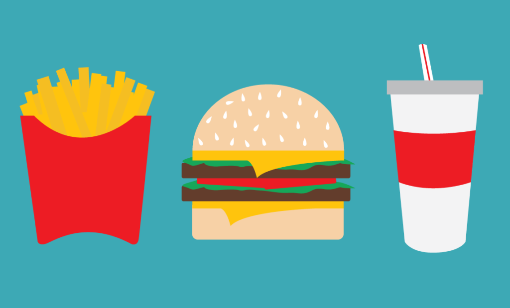 Illustration of a french fries, a cheeseburger and soft drink. Illustration by Kaitlyn Bukema
