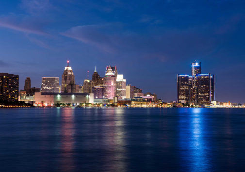 A view of the Detroit skyline. Image credit: Michigan Photography