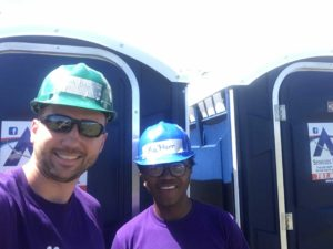 MBA student Tim Carter and undergrad business student Ka'Marr Coleman-Byrd team up in Puerto Rico. Image courtesy: Wolverine Disaster Relief
