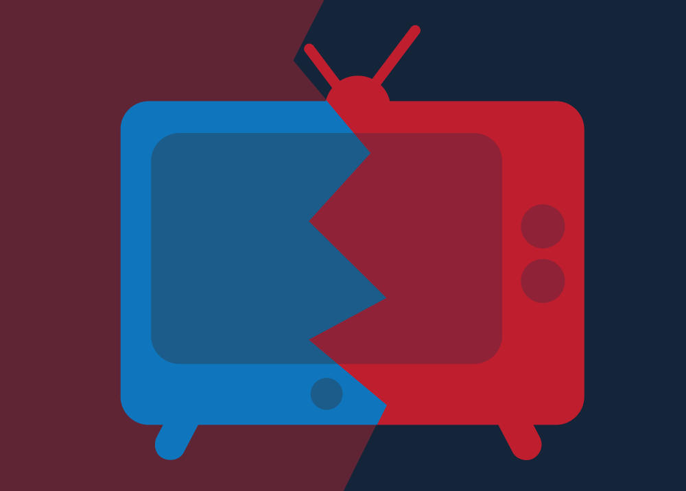 Conceptual illustration of a television split in half, representing split media coverage. Illustration credit: Kaitlyn Beukema