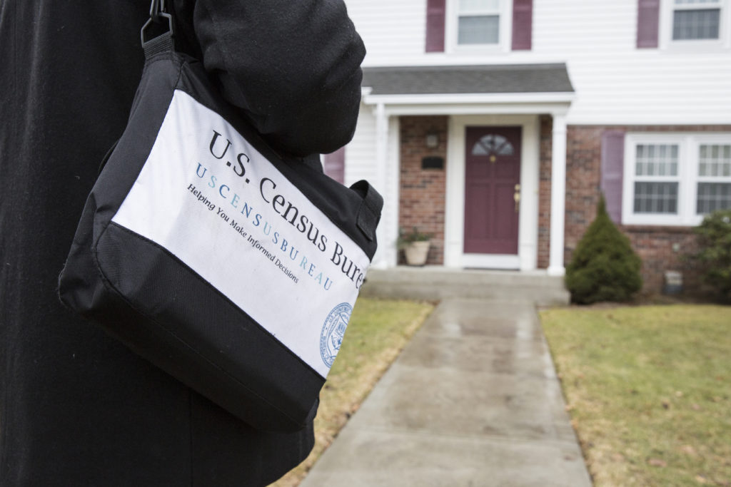 A simulated Non Response Follow-Up interview in Providence, R.I., February 2018. The Census Bureau's data are protected by Title 13 of the United States Code. All data-collection images are simulated. Photo: U.S. Census