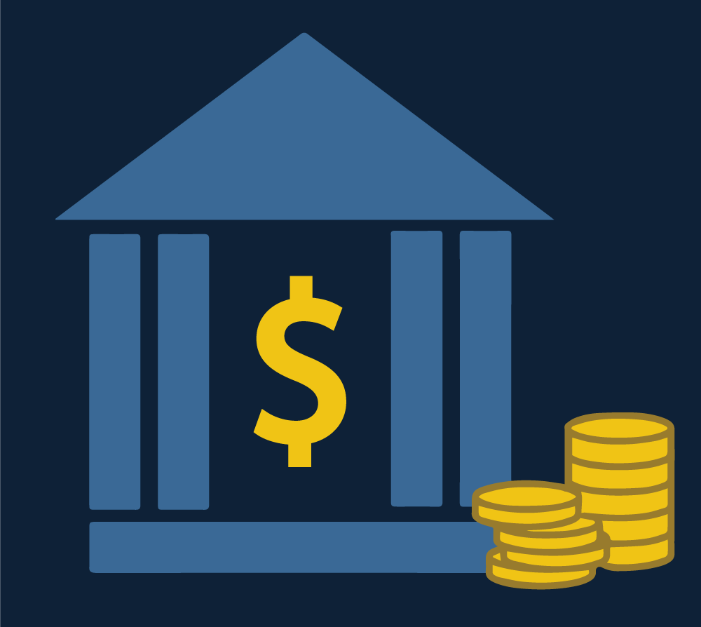 Icon of a bank and money