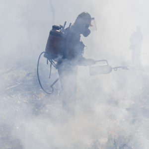 During the fire, a mobile analytical laboratory cruised nearby roads and measured the chemical composition of smoke particles 100 times smaller than the diameter of a human hair.