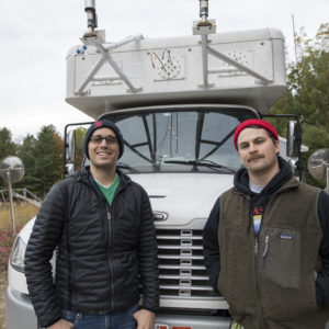 During the burn, a mobile laboratory equipped with a single-particle mass spectrometer and other high-tech instruments cruised nearby roads to measure the chemical composition of smoke particles. U-M doctoral students Nicholas Ellsworth, left, and Nathaniel May were in the mobile lab.