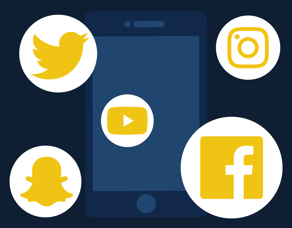 Illustration of phone with social media logos. Illustration credit: Katie Beukema
