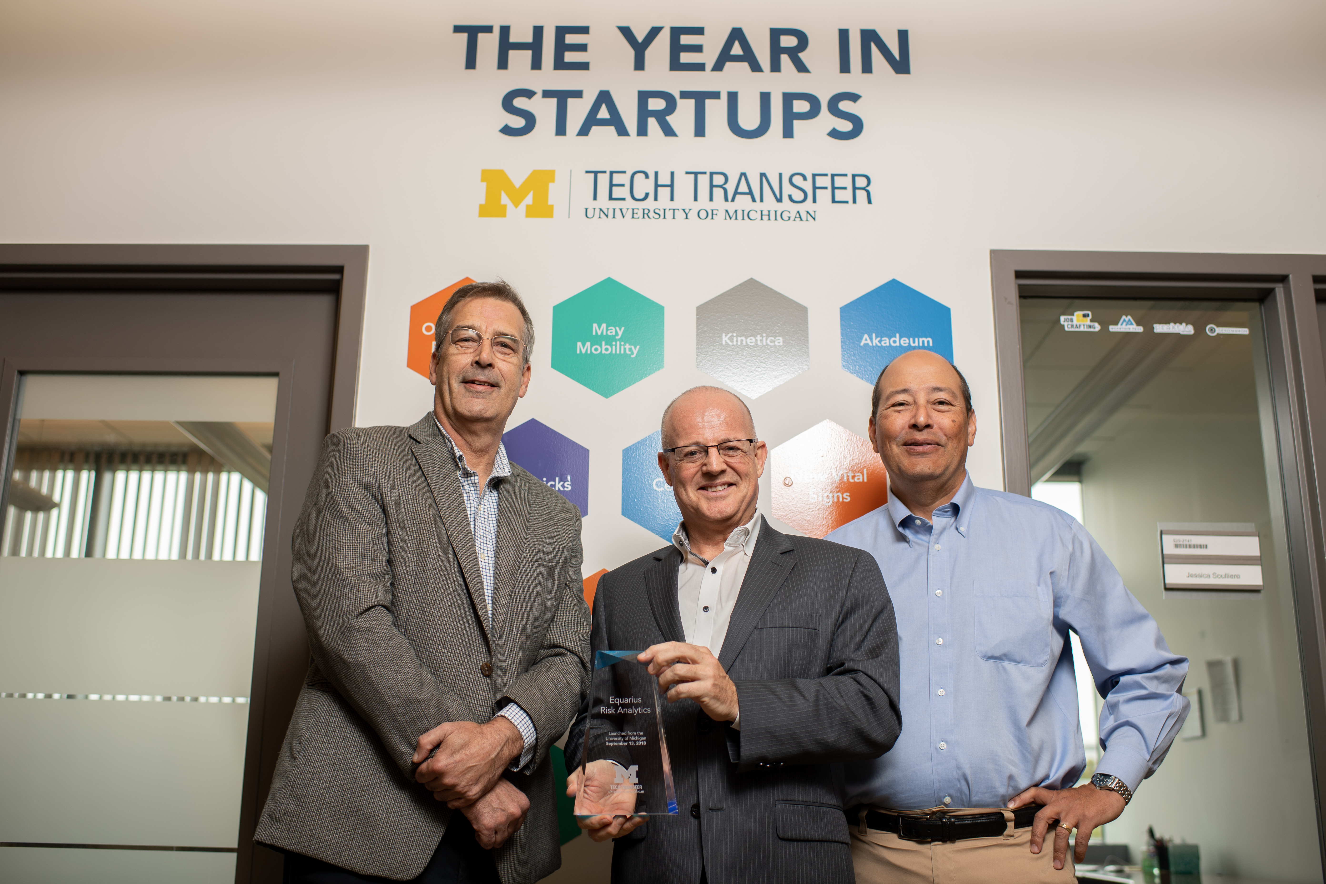 (From left) Greg Peterson of LimnoTech, Peter Adriaens, U-M business and engineering professor, and Tad Slawecki of LimnoTech. Image courtesy: Tech Transfer