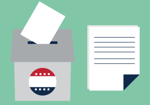 Illustration of a ballot box. Illustration credit: Kaitlyn Beukema