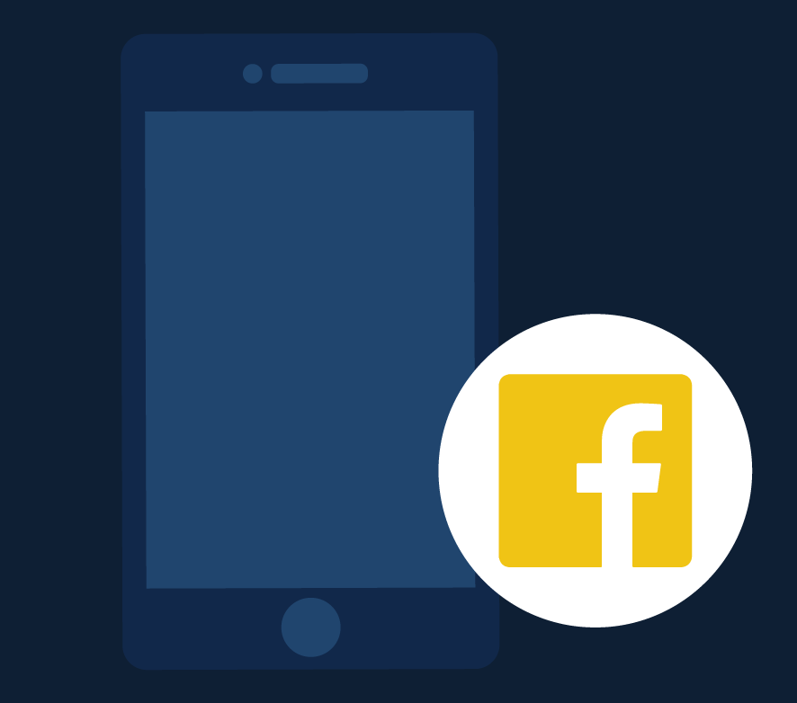 Illustration of a phone and Facebook logo. Illustration credit: Kaitlyn Beukema