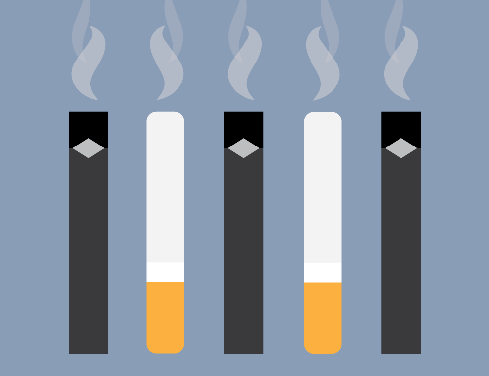 Illustration of e-cigarettes and cigarettes. Illustration credit: Kaitlyn Beukema
