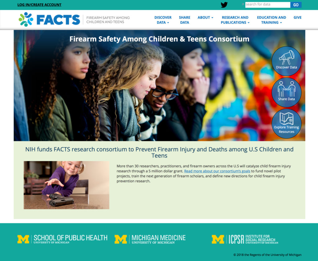 Screenshot of FACTS website homepage