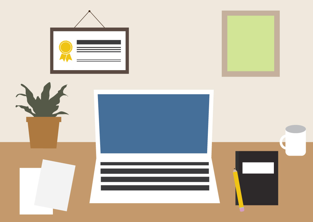Illustration of an office workspace. Illustration credit: Kaitlyn Beukema