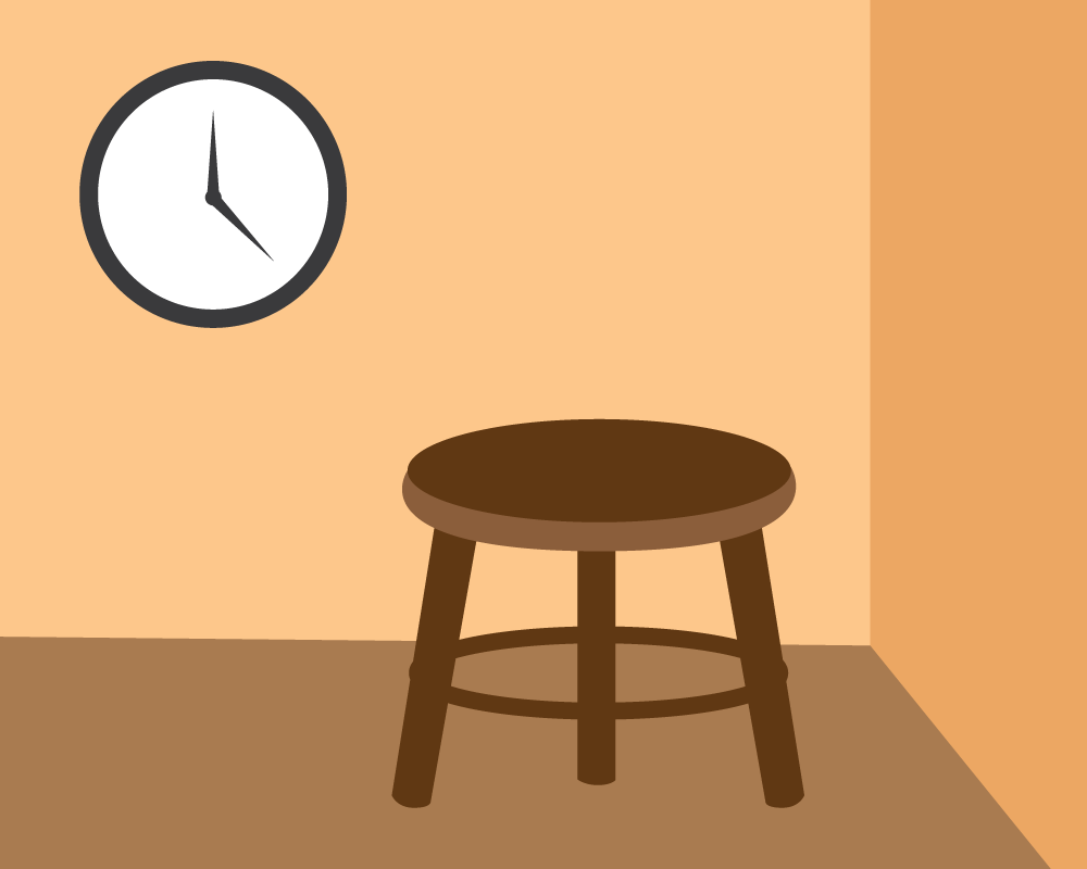 Illustration of a timeout stool. Illustration credit: Kaitlyn Beukema