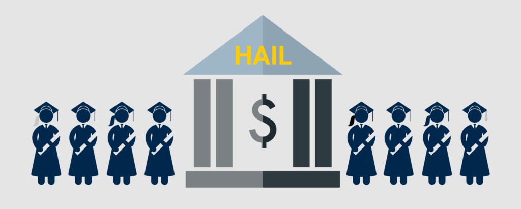 Concept illustration of graduates and a scholarship. Illustration credit: Ilma Bilic