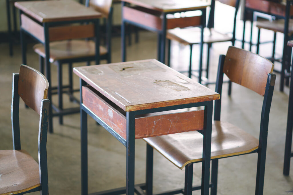 Stock image of a student desk