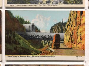 David Opdyke, This Land, wall mural of vintage postcards.