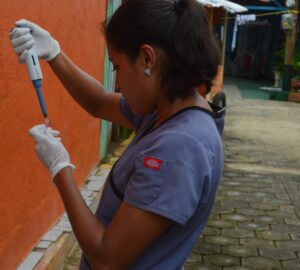 Lab2:Study team member Ingrid Massiel Mercadoprocesses a blood sample in a neighborhood in Managua in June 2017 as part of the NicaraguanPediatric Dengue Cohort Study (PDCS), a long-standing pediatric dengue cohort established in 2004. Image credit: Sustainable Sciences Institute,Paolo Harris Paz.