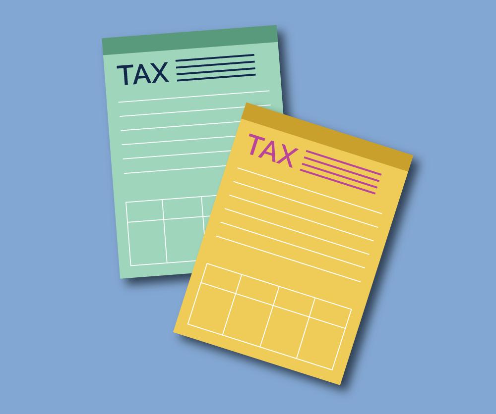 Illustration of tax forms. Illustration credit: Kaitlyn Beukema