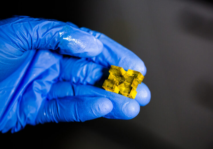 A new way to 3D print, developed at the University of Michigan, uses two lights to control the solidification of resin, enabling complex shapes to be pulled from a vat at 100 times the print speed of conventional 3D printers. Image credit: Evan Dougherty