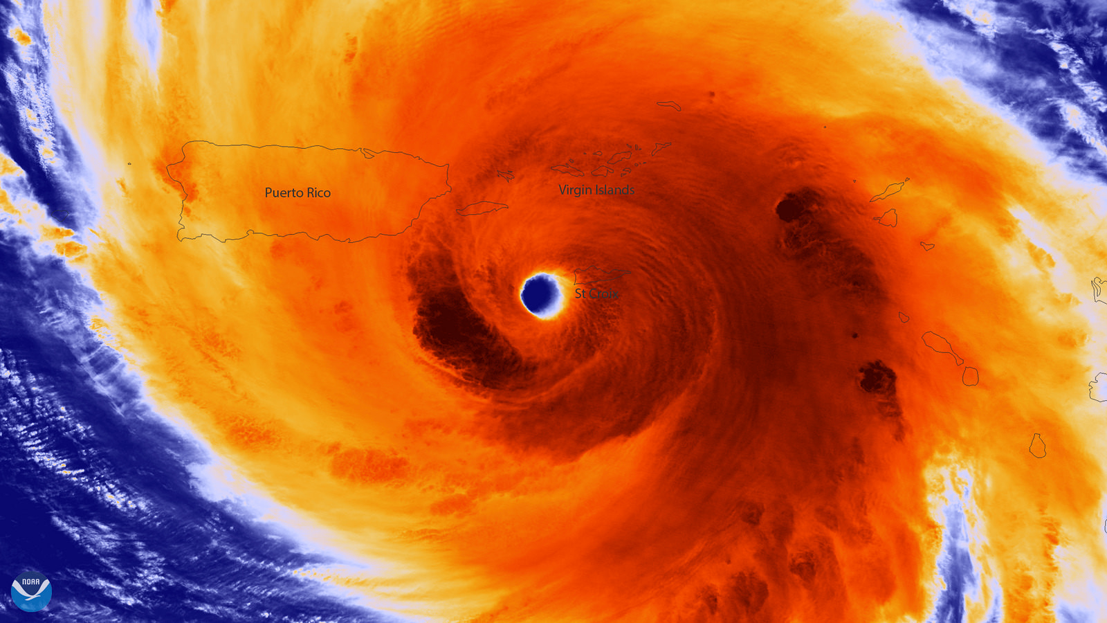 The well-defined eye of Hurricane Maria three hours before arriving in Puerto Rico on September 20, 2017 with maximum sustained winds of around 150 mph. Image credit: NOAA National Satellite, Data and Environmental Information Service (NESDIS) Colored infrared image of the Suomi NPP NOAA / NASA satellite.