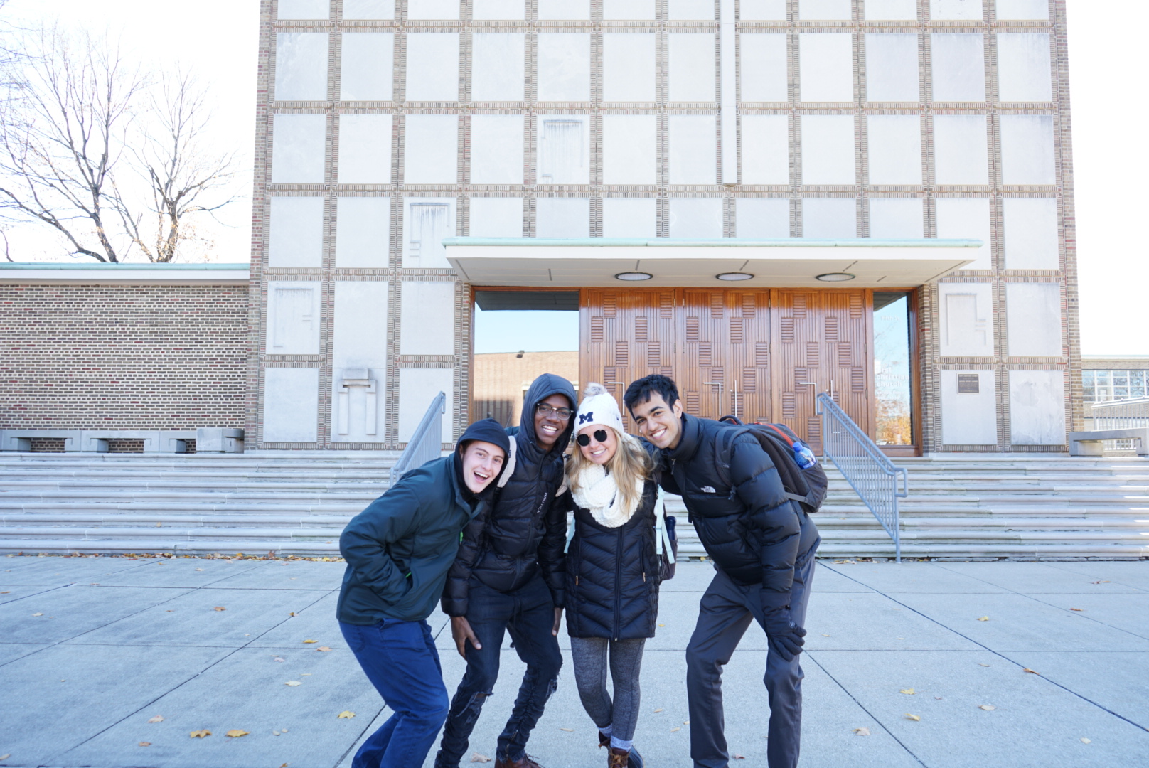 (Left to right): Henry Womack, Demo Ford, Lauren Conroy and Nikhil Kharkar traveled to the small town Columbus, Indiana to see buildings designed by famous architects. Image credit: Lauren Conroy