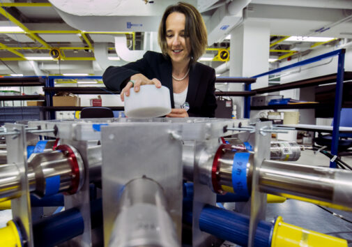 Sara Pozzi puts a radioactive sample into an array of detectors that identify and measure uranium and plutonium. Image credit: Joseph Xu, Michigan Engineering