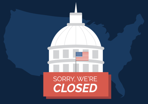 "Illustration of Capitol Hill with a ""sorry we're closed"" sign. Illustration credit: Kaitlyn Beukema"